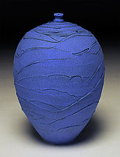 Vivid Blue Scallop II by Nicholas Bernard (Ceramic Vessel)