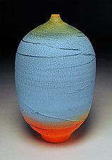 Tall Turquoise Bottle by Nicholas Bernard (Ceramic Vessel)