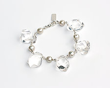 Rough Cut Polished Quartz & Pearl Bracelet by Kathleen Lynagh (Silver & Stone Bracelet)
