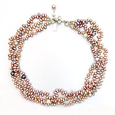 Triple Pearl Strand Necklace with Leaf Clasp by Kathleen Lynagh (Beaded Necklace)