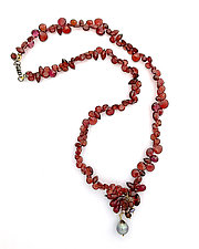 Garnets with Gray Pearl Necklace by Kathleen Lynagh (Gold, Silver & Stone Necklace)