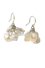 Keishi Pearl & Moonstone Tassel Earrings by Kathleen Lynagh (Silver & Stone Earrings)