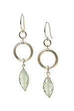 Green Amethyst Drop Earrings by Kathleen Lynagh (Silver & Stone Earrings)