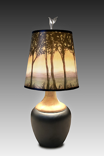 Ceramic and Maple Table Lamp With Small Drum Shade in Dawn