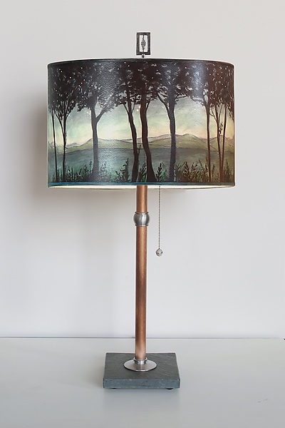 Copper Table Lamp with Large Drum Shade in Twilight