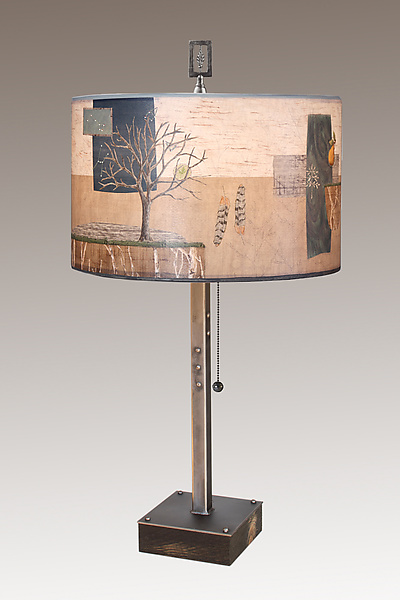 Wander Steel Table Lamp on Wood With Rectangle Finial