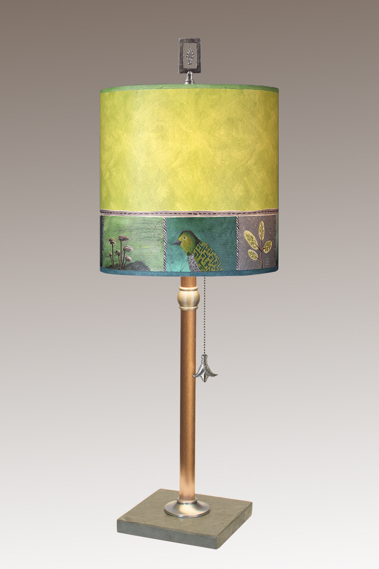 Copper Table Lamp With Medium Drum Shade In Woodland Trails In