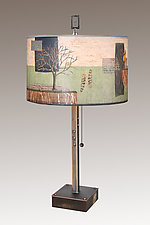 Wander Steel Table Lamp on Wood With Rectangle Finial by Janna Ugone (Mixed-Media Table Lamp)