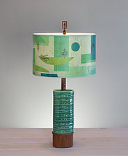 Montage Ceramic and Wood Table Lamp by Janna Ugone (Mixed-Media Table Lamp)