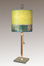Woodland Trails Copper Table Lamp by Janna Ugone (Mixed-Media Table Lamp)