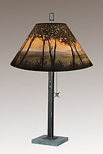 Dawn Steel Table Lamp on Italian Marble by Janna Ugone (Mixed-Media Table Lamp)