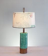 Journey Ceramic and Wood Table Lamp by Janna Ugone (Mixed-Media Table Lamp)
