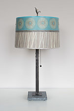 Pool Steel Table Lamp on Marble by Janna Ugone (Mixed-Media Table Lamp)