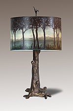 Bronze Tree Table Lamp with Large Drum Shade in Twilight by Janna Ugone (Mixed-Media Table Lamp)