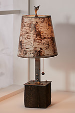 Birch Bark Steel Table Lamp on Reclaimed Wood by Janna Ugone (Mixed-Media Table Lamp)
