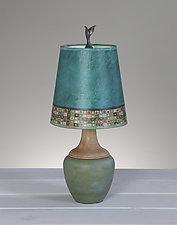 Mosaic Ceramic and Maple Table Lamp by Janna Ugone (Mixed-Media Table Lamp)