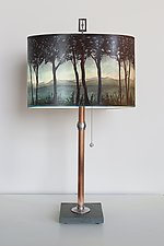 Copper Table Lamp with Large Drum Shade in Twilight by Janna Ugone (Mixed-Media Table Lamp)