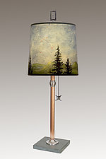 Copper Table Lamp with Medium Drum Shade in Midnight by Janna Ugone (Mixed-Media Table Lamp)