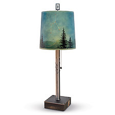 Midnight Sky Steel Table Lamp on Wood by Janna Ugone (Mixed-Media Table Lamp)