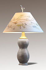 Artful Branch Butternut Ceramic and Maple Table Lamp by Janna Ugone (Mixed-Media Table Lamp)