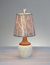 Twigs Ceramic and Maple Table Lamp by Janna Ugone (Mixed-Media Table Lamp)
