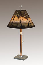 Dawn Copper Table Lamp on Italian Marble by Janna Ugone (Mixed-Media Table Lamp)