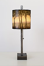 Dawn Steel Table Lamp on Wood by Janna Ugone (Mixed-Media Table Lamp)