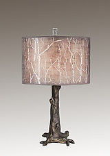 Bronze Tree Table Lamp with Large Drum Shade in Twigs by Janna Ugone (Mixed-Media Table Lamp)