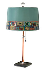 Copper Table Lamp with Large Drum Shade in Tesserae by Janna Ugone (Mixed-Media Table Lamp)