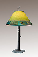 Woodland Trails Steel Table Lamp on Italian Marble by Janna Ugone (Mixed-Media Table Lamp)