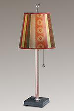 Serape Small Copper Table Lamp on Italian Marble Base by Janna Ugone (Mixed-Media Table Lamp)