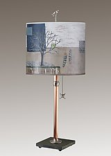 Copper Table Lamp on Vermont Slate Base with Large Oval Shade in Wander in Drift by Janna Ugone (Mixed-Media Table Lamp)