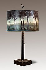 Steel Table Lamp on Reclaimed Wood with Large Drum Shade in Twilight by Janna Ugone (Mixed-Media Table Lamp)