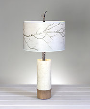 Sweeping Branch Ceramic and Wood Table Lamp by Janna Ugone (Mixed-Media Table Lamp)