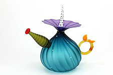 Garden Variety Teapot in Sea-Green by Bob Kliss and Laurie Kliss (Art Glass Teapot)