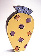Purple and Orange Squares Vase by Diana Crain (Ceramic Wall Sculpture)