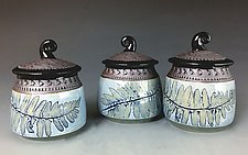 Fiddlehead Box in Cornflower Blue by Suzanne Crane (Ceramic Jar)
