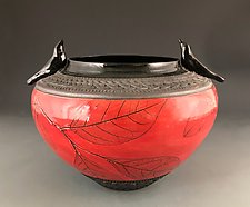 Blackbird Guardian Bowl in Red by Suzanne Crane (Ceramic Bowl)