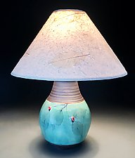 Dogwood Accent Lamp with Red Berries by Suzanne Crane (Ceramic Table Lamp)