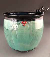 Bird Friend Oakleaf Bowl by Suzanne Crane (Ceramic Bowl)