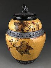 Squash Knob Jar with Grapevine by Suzanne Crane (Ceramic Jar)