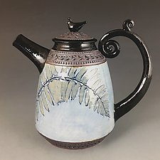 Quail Teapot in Cornflower Blue by Suzanne Crane (Ceramic Teapot)