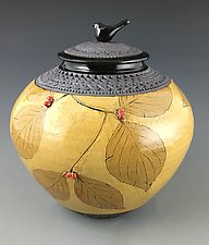 Dogwood Jar with Bird Knob II by Suzanne Crane (Ceramic Jar)