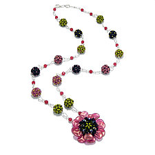 Flower Party Necklace by Kathryn Bowman (Silver & Bead Necklace)