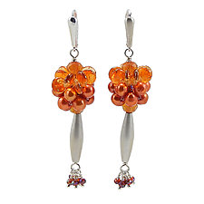 Orange Crush Earrings by Kathryn Bowman (Beaded Earrings)