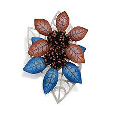 Two Blooms Brooch by Kathryn Bowman (Copper & Silver Brooch)