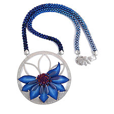 Big Blue Bloom Necklace by Kathryn Bowman (Mixed Media Necklace)