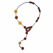 Ruby Sunshine Lariat by Kathryn Bowman (Glass Bead Necklace)