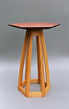 Hex Pedestal by Tracy Fiegl (Wood Pedestal Table)