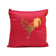 Gilded Rooster Pillow by Helene  Ige (Silk Pillow)